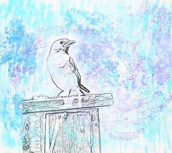 Mixed Media - Eastern Bluebird - Watercolor Art by Kerri Farley