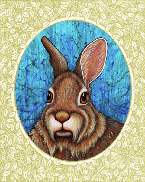 Painting - Eastern Cottontail Portrait - Cream Border by Amy E Fraser