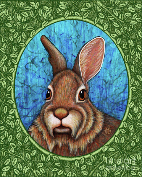 Painting - Eastern Cottontail Portrait - Green Border by Amy E Fraser