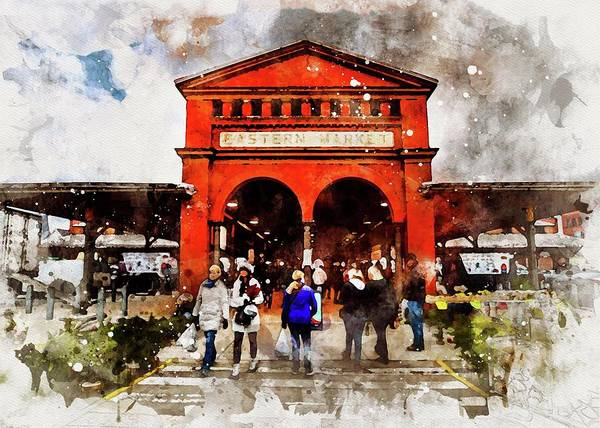 Photograph - Eastern Market Watercolor by Michael Thomas