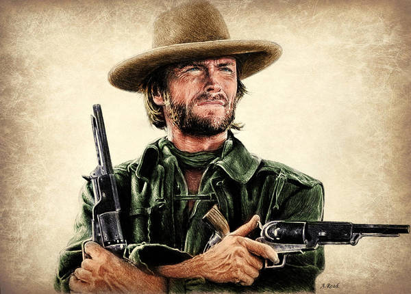Clint Eastwood Drawing - Eastwood Colour 1 by Andrew Read