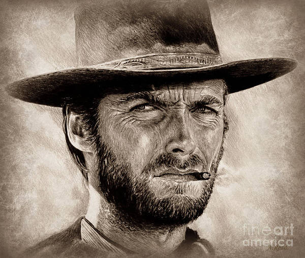Wall Art - Drawing - Eastwood Sepia Portrait by Andrew Read