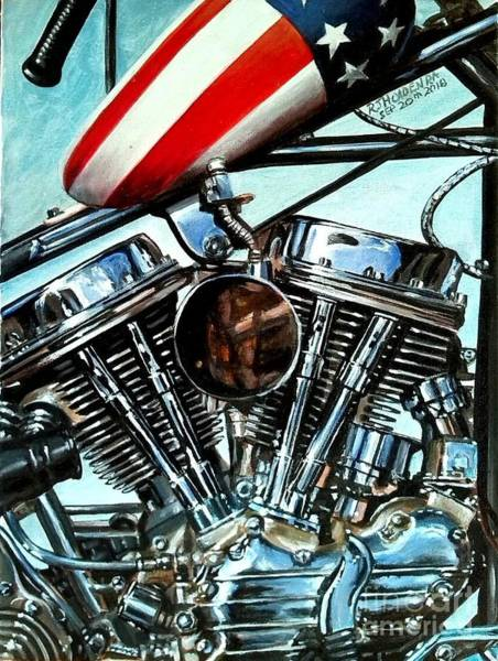 Wall Art - Painting - Easy Rider - Captain America by Richard John Holden RA