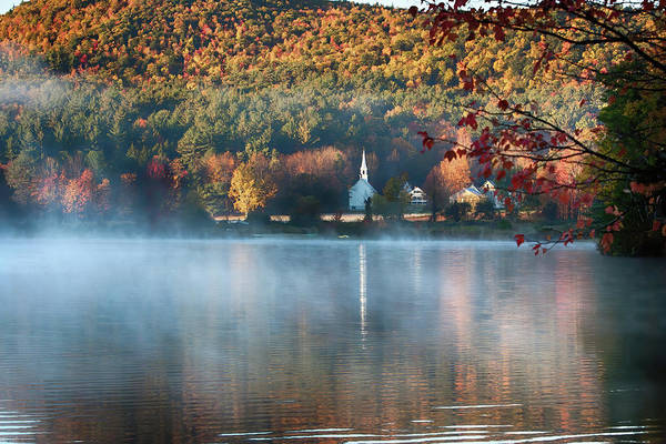 Photograph - Eaton Nh Little White Church With Fall Foliage by Jeff Folger