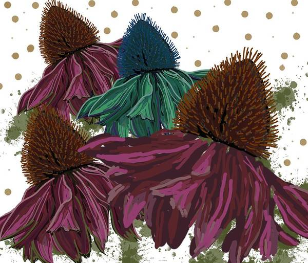 Digital Art - Echinacea Flower Skirts by Joan Stratton