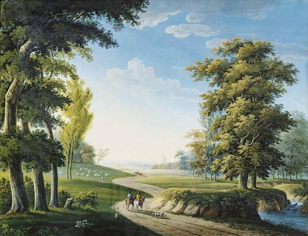 Francaise Painting - Ecole Francaise Vers 1800 Two Horsemen On A Path by Ecole francaise vers