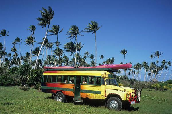 Canoe Photograph - Ecotour Bus, Taga, Savaii Samoa by Holger Leue / Look-foto