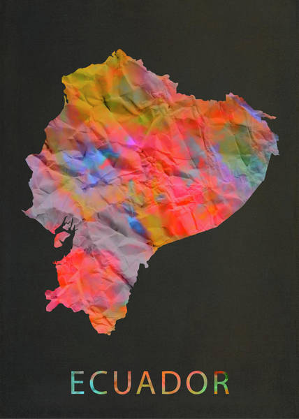 Ecuador Wall Art - Mixed Media - Ecuador Tie Dye Country Map by Design Turnpike