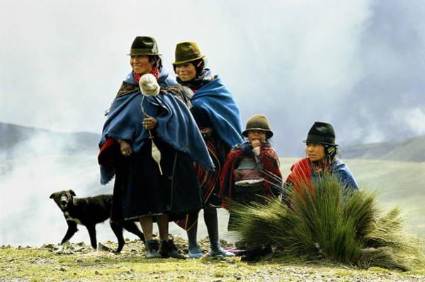 Breed Of Dog Photograph - Ecuador,cotopaxi,quechua Indian Women by Jeremy Horner