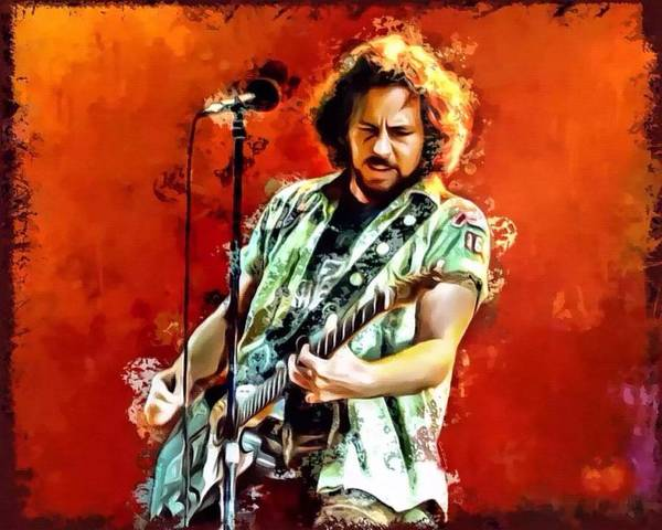 Society Digital Art - Eddie Vedder Portrait by Scott Wallace Digital Designs