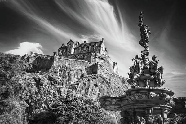 Castle Garden Photograph - Edinburgh Castle Scotland Black And White by Carol Japp