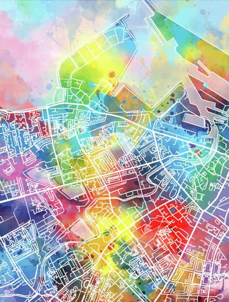 Wall Art - Digital Art - Edinburgh Map Watercolor by Bekim M
