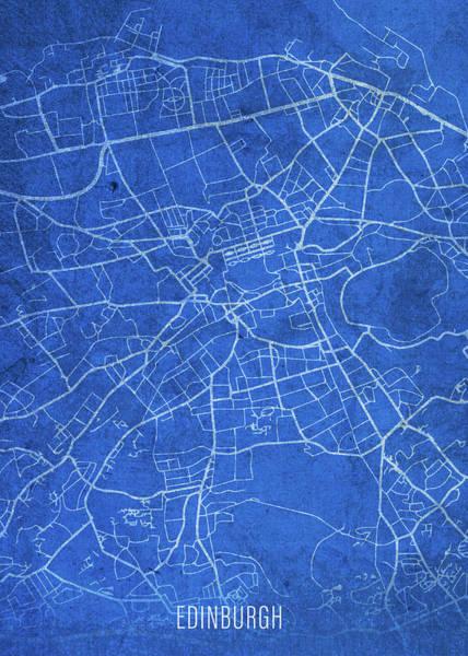 Wall Art - Mixed Media - Edinburgh Scotland City Street Map Blueprints by Design Turnpike