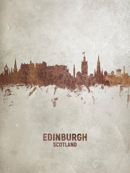 Wall Art - Digital Art - Edinburgh Scotland Rust Skyline by Michael Tompsett