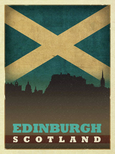 Wall Art - Mixed Media - Edinburgh Scotland World City Flag Skyline by Design Turnpike