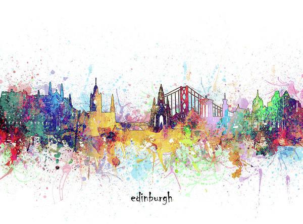Wall Art - Digital Art - Edinburgh Skyline Artistic by Bekim M