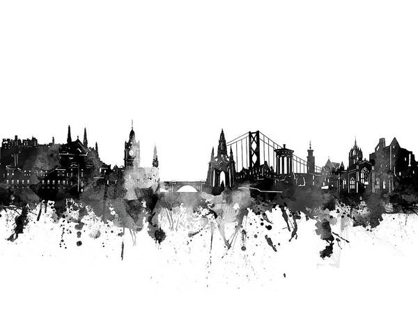 Wall Art - Digital Art - Edinburgh Skyline Bw by Bekim M