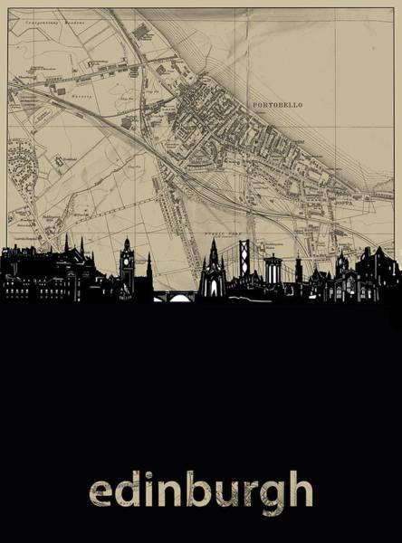 Wall Art - Digital Art - Edinburgh Skyline Map by Bekim M