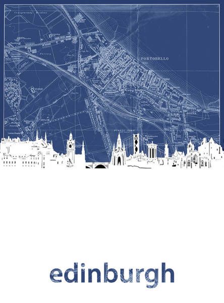 Wall Art - Digital Art - Edinburgh Skyline Map Blue by Bekim M