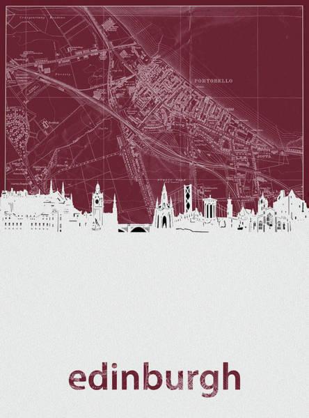 Wall Art - Digital Art - Edinburgh Skyline Map Red by Bekim M