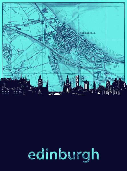 Wall Art - Digital Art - Edinburgh Skyline Map Turquoise by Bekim M