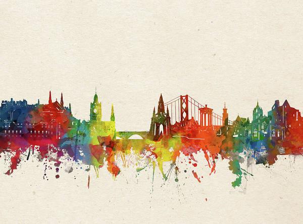 Wall Art - Digital Art - Edinburgh Skyline Watercolor by Bekim M