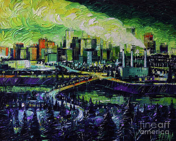 Wall Art - Painting - Edmonton Nightscape Panorama by Mona Edulesco
