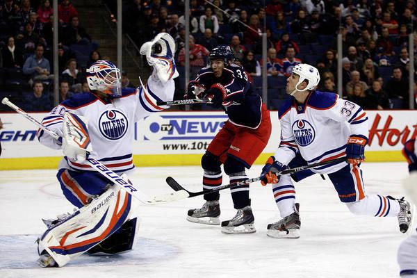 National Hockey League Photograph - Edmonton Oilers V Columbus Blue Jackets by John Grieshop