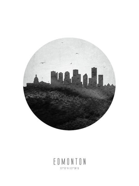 Wall Art - Digital Art - Edmonton Skyline Caabed04 by Aged Pixel