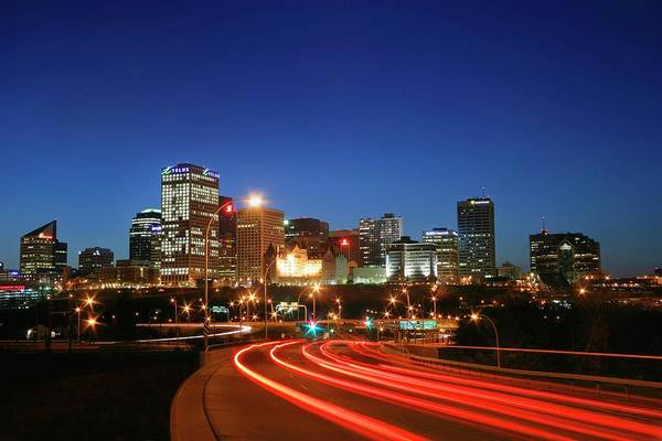 Design Photograph - Edmonton Skyline With Lights On Road by Design Pics