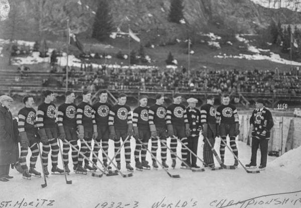 Boys Playing Hockey Painting - Edmonton Superiors Hockey Team At World Championship In St  Moritz Switzerland by Celestial Images
