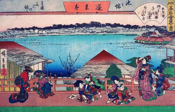 Geisha Painting - Edo Komeikaiteizukushi  - Ikenohata, Horaitei, Seiro Flower Viewing Vacation by Utagawa Hiroshige