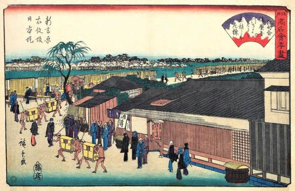 Transporter Wall Art - Painting - Edo Komeikaiteizukushi - Shinyoshiwara, Emonzaka, Nihonzutsumi, Harimaya by Utagawa Hiroshige