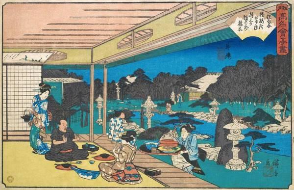 Dinner Painting - Edo Komeikaiteizukushi  - Ushijima, Musashiya by Utagawa Hiroshige
