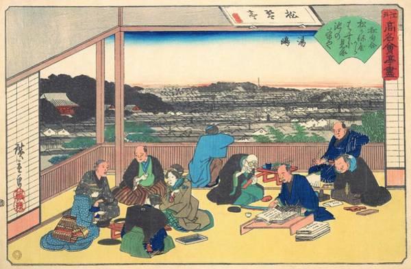 Dinner Painting - Edo Komeikaiteizukushi  - Yushima, Shokintei by Utagawa Hiroshige
