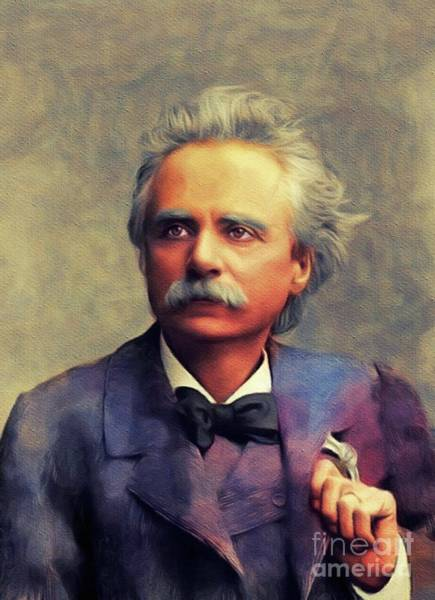 Wall Art - Painting - Edvard Grieg, Music Legend by John Springfield