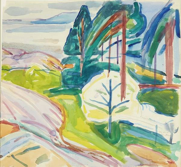 Wall Art - Painting - Edvard Munch Norway 1863-1944 Pine And Flowering Fruit Trees by Celestial Images