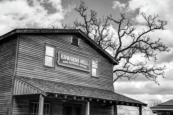 Photograph - Edwards Water Mill At College Of The Ozarks - Monochrome by Gregory Ballos