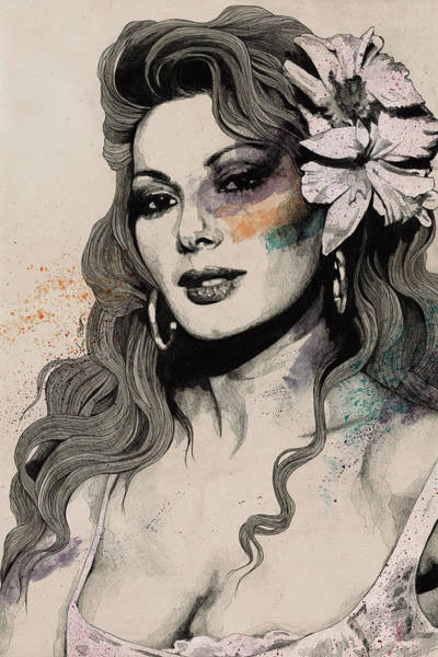 Actress Drawing - Edwige - Street Art Sexy Portrait Of Edwige Fenech by Marco Paludet
