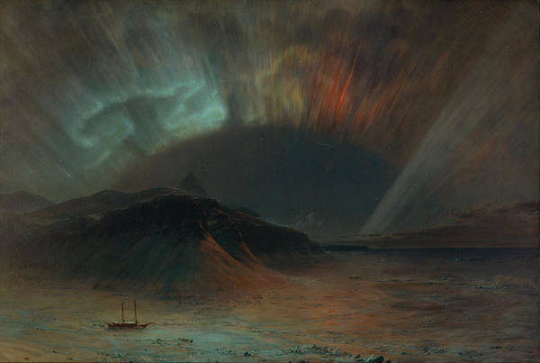 Frozen River Digital Art - Edwin Church, Aurora Borealis, 1865 by Monifa Jelita