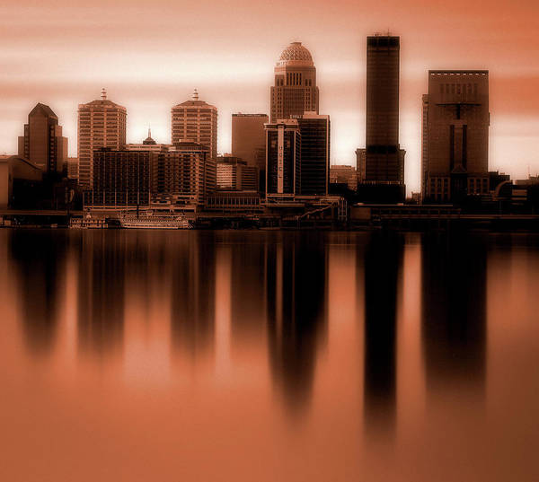 Wall Art - Photograph - Eerie Sunset Over Louisville Skyline by Dan Sproul