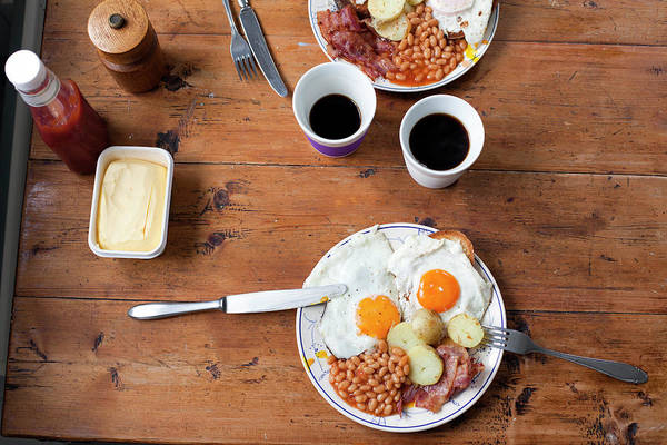 Sunny Side Up Wall Art - Photograph - Egg, Bacon And Beans Breakfast On by Jorn Georg Tomter