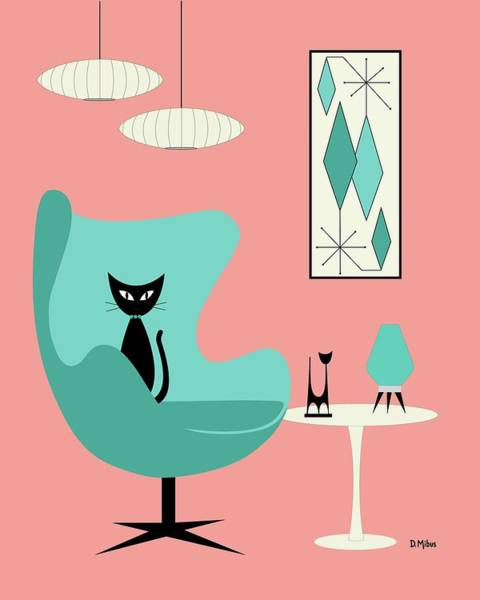 Digital Art - Egg Chair In Pink Room by Donna Mibus