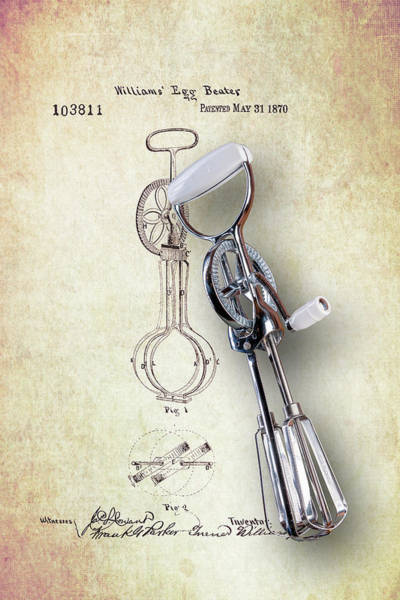Egg Photograph - Eggbeater With Antique Eggbeater Patent by Tom Mc Nemar
