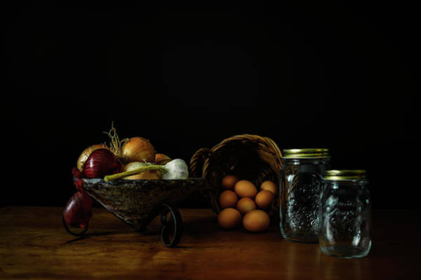 Wall Art - Photograph - Eggs, Onions And Garlic by Cassi Moghan