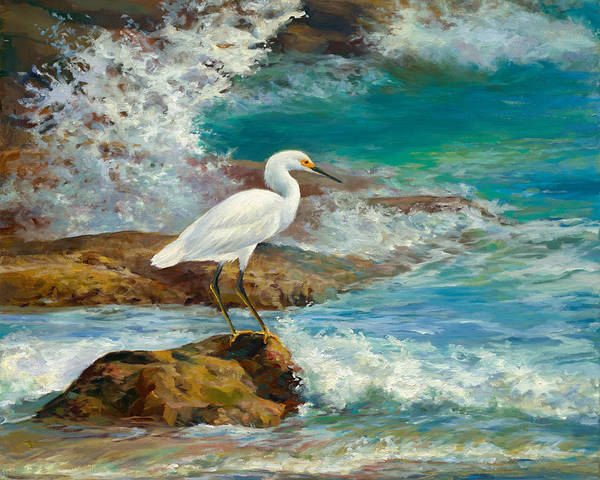 Wall Art - Painting - Egret - Breakfast On The Rocks by Laurie Snow Hein