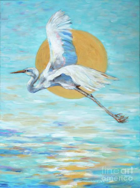 Painting - Egret In Flight by Linda Olsen