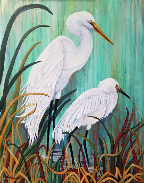 Wall Art - Painting - Egret Pair by Elaine Hodges