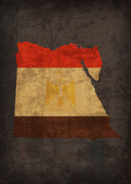 Wall Art - Mixed Media - Egypt Country Flag Map by Design Turnpike