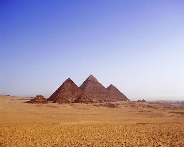 Giza Photograph - Egypt, Giza, Pyramids In Desert by Stephen Studd